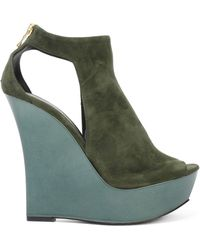Balmain - Amaya Cutout Suede And Mirrored-leather Wedge Sandals Army Green - Lyst