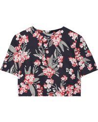 Jonathan Saunders - Bibbi Cropped Floral-print Twill Top - Lyst