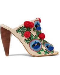 Tory Burch - Ellis Embellished Leather Mules - Lyst