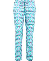 Paloma Blue - Venice Printed Silk-satin Slim-leg Pants - Lyst
