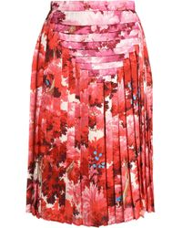 Marco De Vincenzo - Pleated Printed Satin Skirt - Lyst