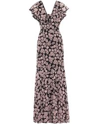 MILLY - Ruffled Floral-print Crepe De Chine Gown - Lyst