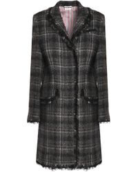 Thom Browne - Fringe-trimmed Checked Wool-blend Bouclé Coat - Lyst