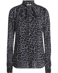 MICHAEL Michael Kors - Pussy-bow Leopard-print Crepe Blouse - Lyst