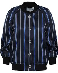 3.1 Phillip Lim - Striped Jacquard Bomber Jacket Navy - Lyst