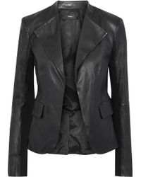 Theory - Bristol Jersey-paneled Peplum Leather Jacket Black - Lyst