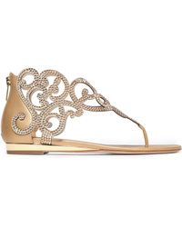 Rene Caovilla - Crystal-embellished Satin And Metallic Leather Sandals - Lyst