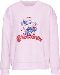 Baum und Pferdgarten - Embroidered Cotton-blend Fleece Sweatshirt Baby Pink - Lyst