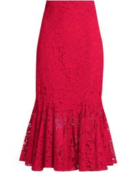Dolce & Gabbana - Fluted Cotton-blend Corded Lace Midi Skirt - Lyst
