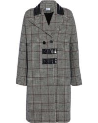 Carven - Leather-trimmed Checked Wool-blend Coat - Lyst