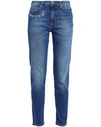 Mira Mikati - Woman Embroidered Faded High-rise Slim-leg Jeans Dark Denim - Lyst