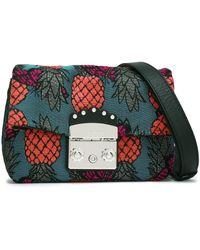 Furla - Woman Leather-trimmed Jacquard Shoulder Bag Teal - Lyst
