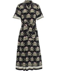 Markus Lupfer - Woman Floral-print Silk-georgette Midi Dress Black - Lyst