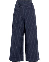 Brunello Cucinelli - Cropped Pinstriped Wool And Linen-blend Canvas Wide-leg Trousers - Lyst