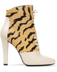 3.1 Phillip Lim - Harleth Leather And Printed Calf Hair Ankle Boots - Lyst