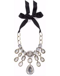 Lanvin - Gold And Gunmetal-tone Crystal Necklace - Lyst