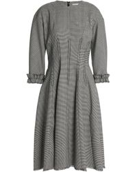 Marco De Vincenzo - Pleated Houndstooth Wool-blend Dress - Lyst