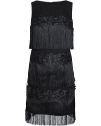 Badgley Mischka - Fringed Embroidered Tulle Dress - Lyst