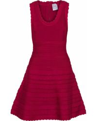 Hervé Léger - Hervé Léger Woman Jules Flared Bandage Mini Dress Claret - Lyst