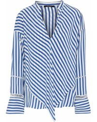 Derek Lam - Open Knit-trimmed Layered Striped Silk-satin Blouse - Lyst