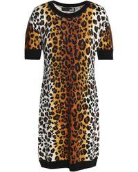 Love Moschino - Leopard-print Wool-blend Mini Dress - Lyst
