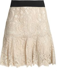 Dolce & Gabbana - Pleated Cotton-blend Corded Lace Mini Skirt - Lyst