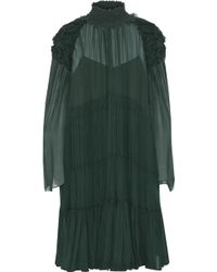 204130d2f4 Chloé - Chloé Woman Gathered Ruffle-trimmed Silk-georgette Dress Forest  Green - Lyst