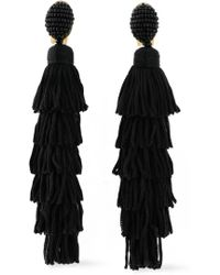Oscar de la Renta - Gold-tone, Bead, Cord And Tassel Clip Earrings - Lyst