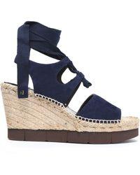 Paloma Barceló - Lace-up Suede Wedge Platform Sandals - Lyst