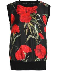 Dolce & Gabbana - Floral-print Faille-paneled Silk Top - Lyst