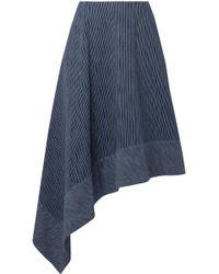 Adam Lippes - Woman Asymmetric Striped Cotton Midi Skirt Navy - Lyst