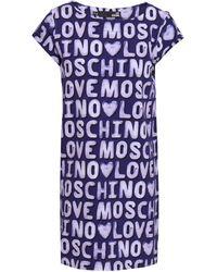Love Moschino Printed French Cotton-blend Terry Mini Dress Dark Purple