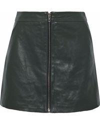 Muubaa - Leather Mini Skirt Dark Green - Lyst