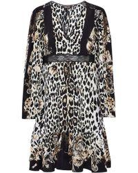 Roberto Cavalli - Lace-trimmed Leopard-print Silk Dress Animal Print - Lyst