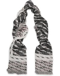 Sandro - Woman Printed Cotton-blend Scarf Pastel Pink - Lyst
