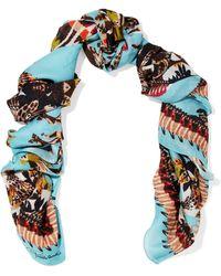 Roberto Cavalli - Printed Silk-jacquard Scarf - Lyst