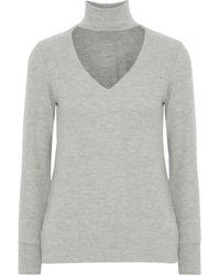 LNA - Brushed Cutout Stretch-knit Turtleneck Top - Lyst