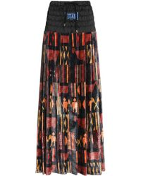 Stella Jean - Satin-paneled Pleated Printed Velvet Maxi Skirt - Lyst