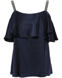 Temperley London - Woman Lantern Embellished Ruffled Silk-charmeuse Top Midnight Blue - Lyst