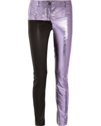 Haider Ackermann - Metallic And Matte Leather Skinny Pants - Lyst