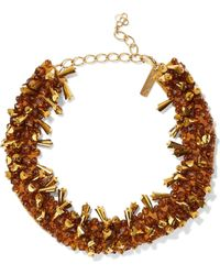 Oscar de la Renta - Gold-tone, Bead And Satin Necklace - Lyst