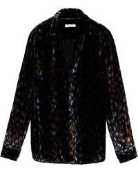 Equipment - Woman Printed Velvet Shirt Black - Lyst