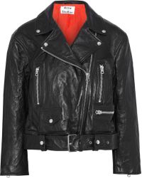 Acne Studios - Woman Merlyn Crinkled-leather Biker Jacket Black - Lyst