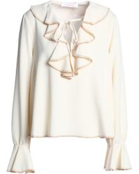 6c6d1618aa81b0 See By Chloé - See By Chloé Woman Ruffled Crepe Top Ecru - Lyst