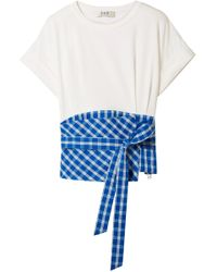 Sea Panelled Checked Twill And Cotton-jersey Top Off-white