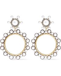 Elizabeth Cole - 24-karat Gold-plated, Faux Pearl And Crystal Hoop Earrings Gold - Lyst