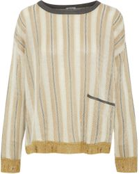 Acne Studios - Blanca Striped Metallic Intarsia-knit Sweater - Lyst