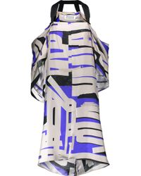 Maison Margiela - Cold-shoulder Draped Printed Silk-twill Dress - Lyst