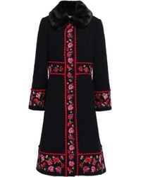 Kate Spade - Woman Faux Fur-trimmed Embroidered Wool-blend Coat Black - Lyst