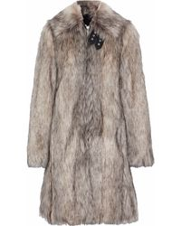 Helmut Lang - Woman Wolf Leather-trimmed Faux Fur Coat Mushroom Size Xs - Lyst